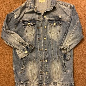 Women's longline denim jacket with quote on back